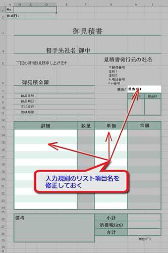 入力規則のドロップダウンリスト適用箇所