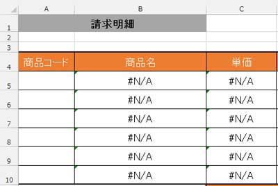 #N/Aが表示されている表
