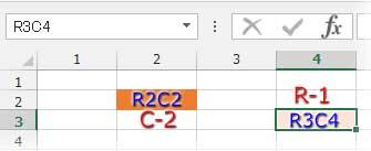 R1C1で[]の数字が位置を示す