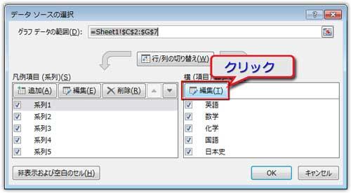データソースの選択ダイアログの編集をクリック