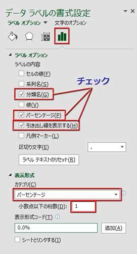 データラベルの書式設定で「分類名」「パーセンテージ」をオンにし、%の表示形式を小数点以下1に設定