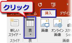 挿入の表▼ボタンをクリック