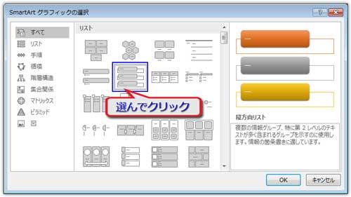 SmartArtグラフィック選択のダイアログボックス