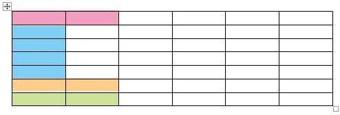 挿入された表のセルで結合させるセル範囲