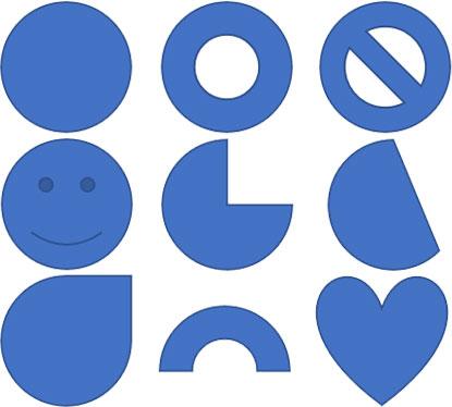 基本図形の楕円と、円形から派生した形状を持つ図形