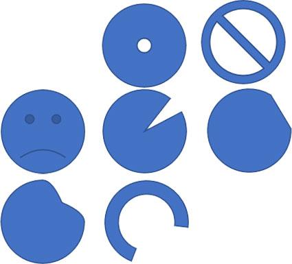 調整ハンドルによる基本図形(円形状)の変形例