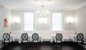 Quatrefoil Restaurant is an elegant vision in white