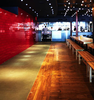 Wvrst's beer hall setting is spare, mod and fun