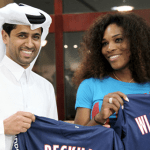 Serena Williams receives jersey from Paris Saint-Germain president Nasser Al Khelaifi