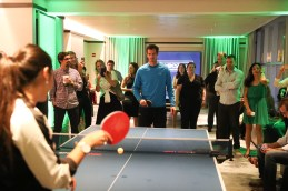 """NEW YORK, NY - AUGUST 27: Andy Murray plays a game of table tennis at """"An Evening With Andy Murray"""" event at Langham Place on August 27, 2016 in New York City. (Photo by Rob Kim/Getty Images for Langham Place, New York)"""