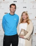 """NEW YORK, NY - AUGUST 27: Andy Murray (L) and Pamela Feick as Director of Sales and Marketing of the Hotel Plaza Athenee, attends """"An Evening With Andy Murray"""" event at Langham Place on August 27, 2016 in New York City. (Photo by Rob Kim/Getty Images for Langham Place, New York)"""