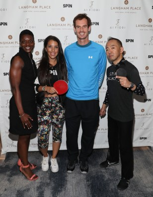 """NEW YORK, NY - AUGUST 27: Andy Murray (C) and table tennis players Malin Pettersson (2nd L) and Kazuyuki Yokoyama attend """"An Evening With Andy Murray"""" event at Langham Place on August 27, 2016 in New York City. (Photo by Rob Kim/Getty Images for Langham Place, New York)"""