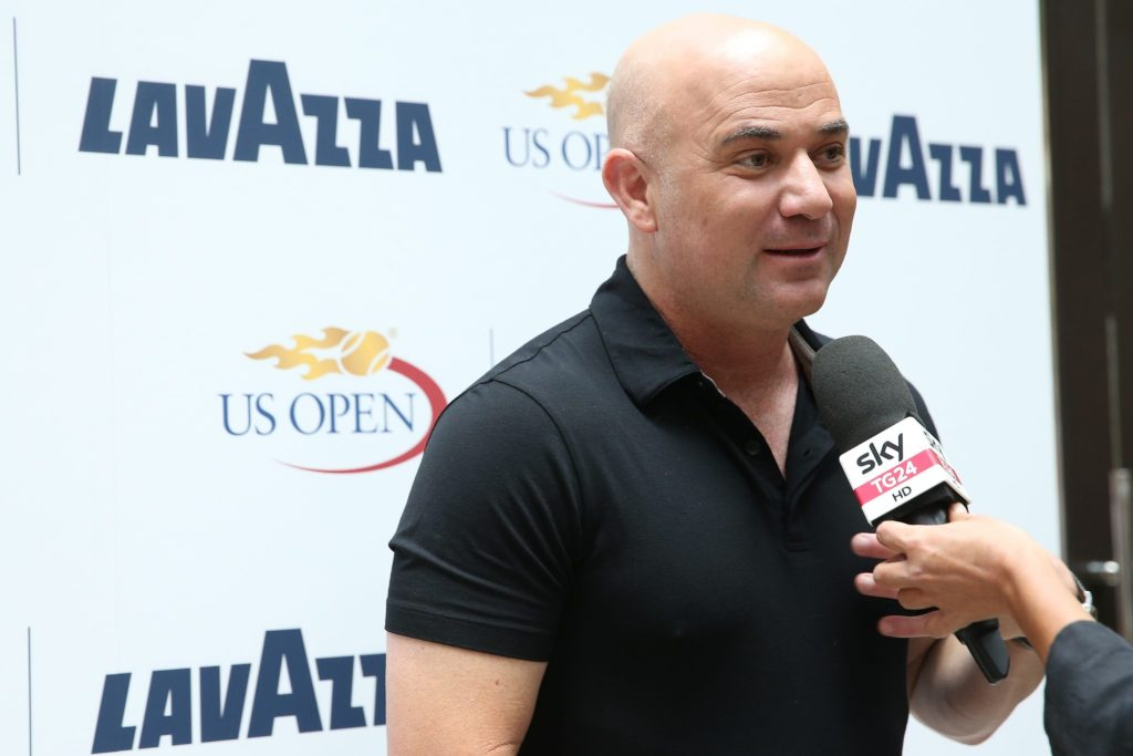 NEW YORK, NY - AUGUST 30: Andre Agassi speaks to the media at the kickoff party announcing their global partnership at NOMO Kitchen on August 30, 2016 in New York City. (Photo by Ed Mulholland/Getty Images for Lavazza)