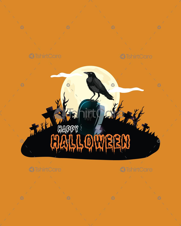 Black Crow On Tomb Happy Halloween Night Party ...