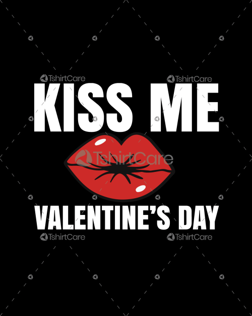 Kiss me Valentine's Day T-shirt Design for Men & Women