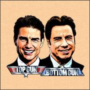 top gun bottom gun tom cruise and john travolta spoof parody shirts