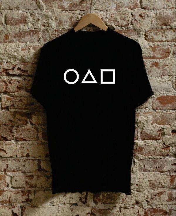 Ανδρικό μπλουζάκι με σχέδιο Squid Game Symbols τυπωμένο της Fruit of the Loom.