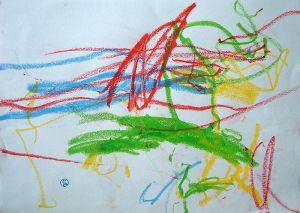 scribbling in crayon