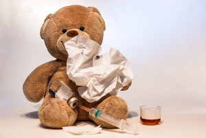 Teddy bear sick with flu