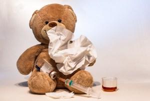 Teddy bear sick with flu