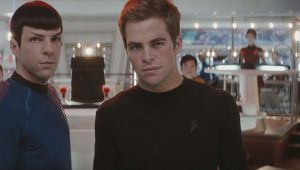 Zachary Quinto and Chris Pine as Spock and Kirk
