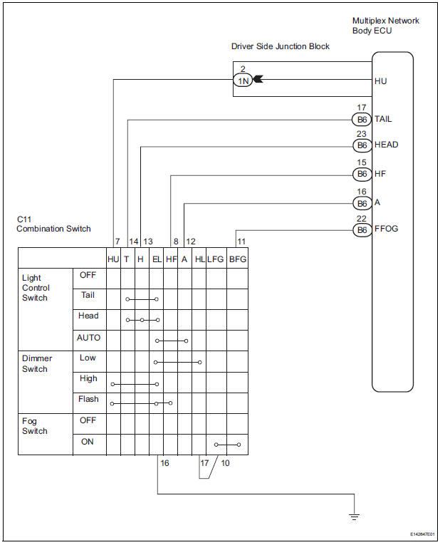 toyota sienna service manual light control switch circuit