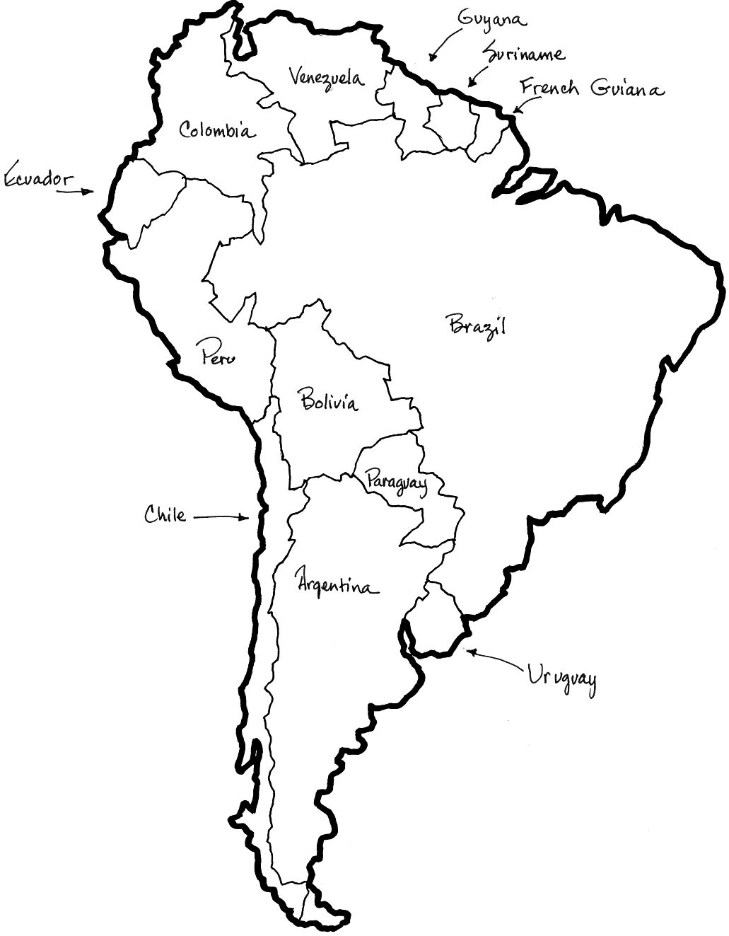 map of south america colouring