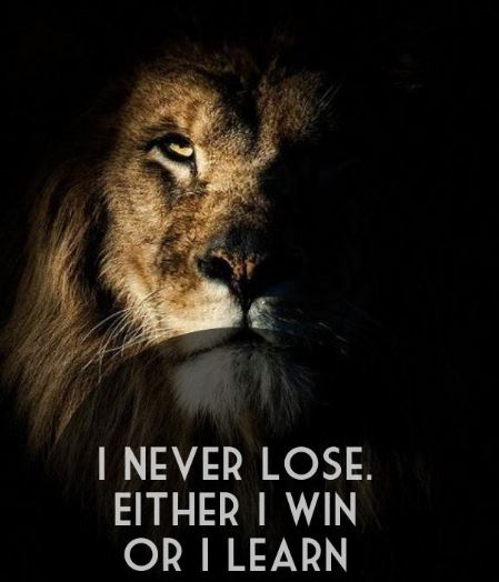 I never lose. I either win or learn!