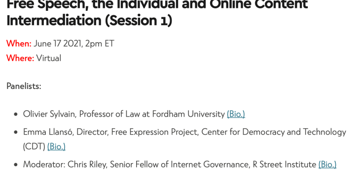 Free speech and online content event image