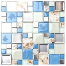 tst glass metal tile blue white conch