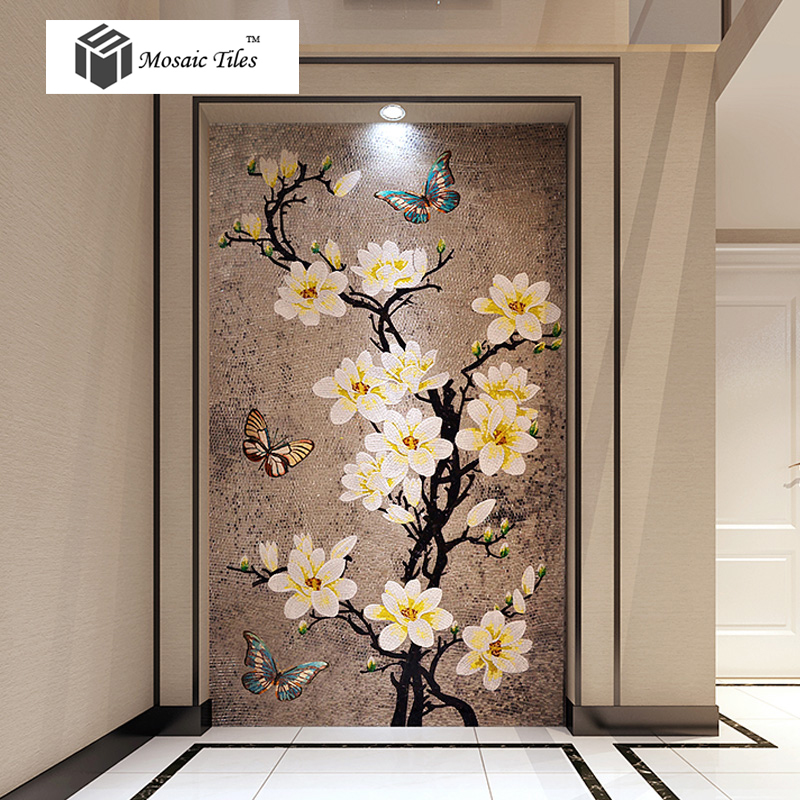 TST Mosaic Murals Gradient Color Jade Glass Butterfly Amp Flowers Hand Made Mosaic Picture