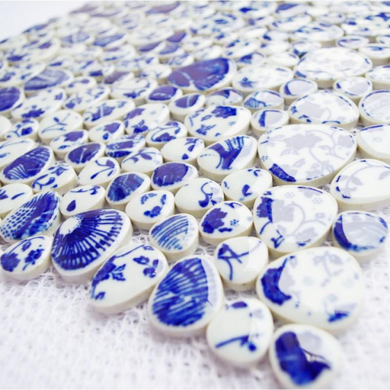 Tst Blue And White Porcelain Pebbles Glazed Art Mosaic