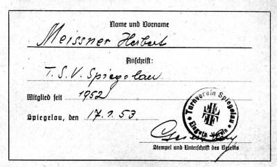 Erster Mitgliedsausweis, Herbert Meißner