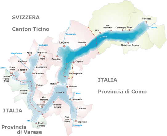 Lake Lugano map with place names in Italian.