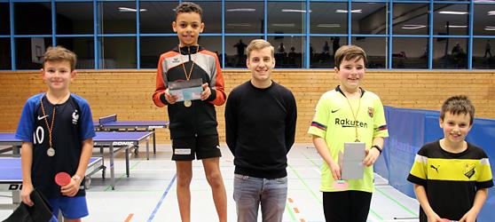 Siegerehrung der Wettkampfgruppe 1 Jungen der TTC Muggensturm Mini-Meisterschaft