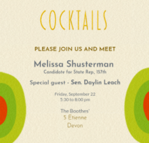 Melissa Shusterman Event @ Home of Sharon and Noel Boothe