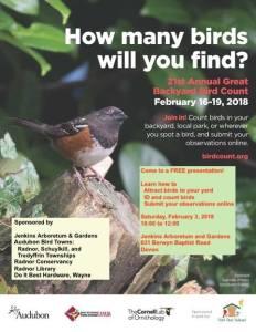 Backyard Bird Watch and Count @ Jenkins Arboretum