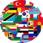 Many flag collaged together to make a circle or earth