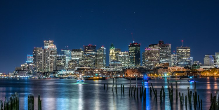 Blue hour Boston Skyline