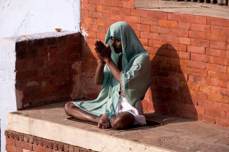 Man in Green Praying in Varanasi - Varanasi, India - Copyright 2016 Ralph Velasco-4