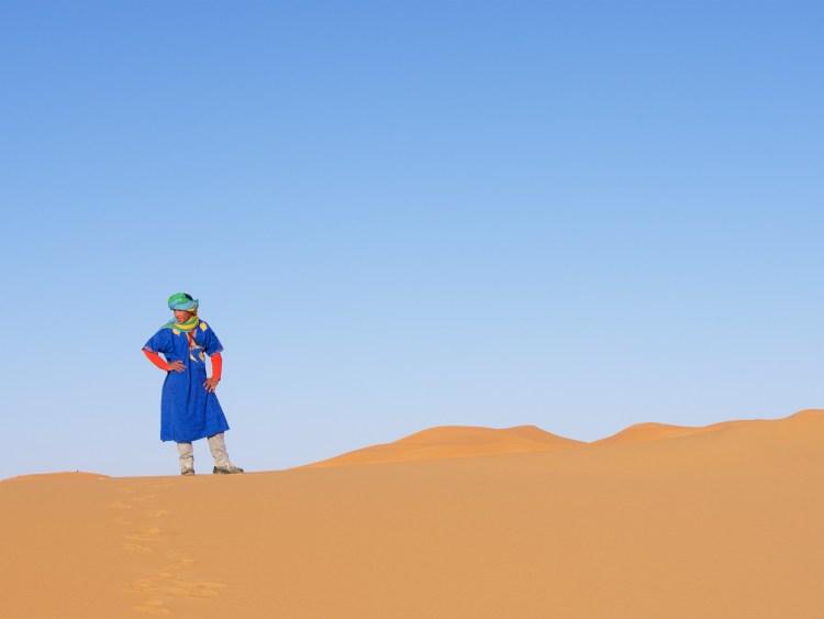Touareg Man in Colorful Scarf on Dune - Merzouga, Morocco - Copyright 2016 Ralph Velasco