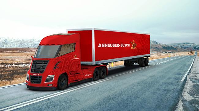 Nikola's truck, branded by Anheuser-Busch