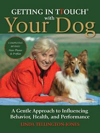 Linda Tellington-Jones poses with a beautiful sheltie dog.