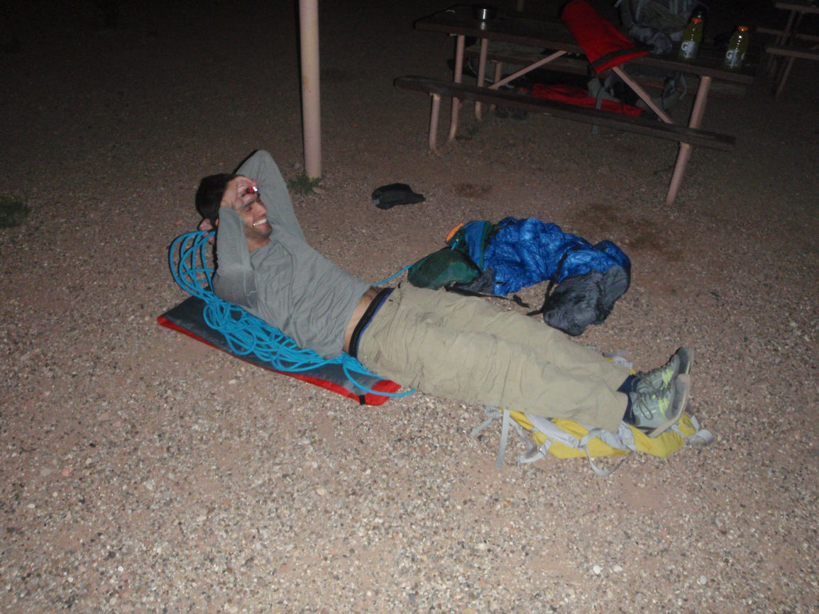 This was taken at Lee's Ferry, but inserting it here to show how I slept every night. I was really excited about my new full-length inflatable pad, having finally bit the bullet and decided the weight was worth actually sleeping for once outside (hard to get comfortable on foam in AZ). First night out, the valve failed beyond repair. I had read about sleeping on ropes for mountaineering bivies. I was pretty excited to try it out, and at first I found I could mold the thing to my shape really nicely and it was comfortable. It got uncomfortable really fast! It did keep me off the ground and warm though. (Photo by Diane.)