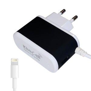 Opladers Khocell – Oplader met Apple Lightning aansluiting 1 meter – 1 extra USB aansluiting – 2.4A – Zwart/Wit