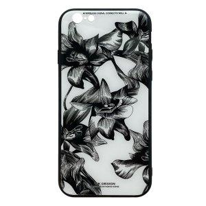 Apple hoesjes WK Design – Azure Stone Series – Hardcase – Voor iPhone 6 / 6S – Witte bloem – Zwart