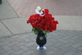 Roses left by the women in McGuffey's Pledge class.