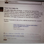 A Facebook message regarding an endorsement of Raiders United by Alpha Phi.