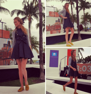 Viola-Vu shared her Instagram photo of her design walking down the 24 Hour Cotton Runway.