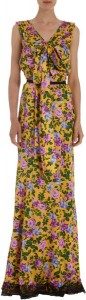 Floral Print Bow Front V Neck Gown by Nina Ricci via Lyst.com.